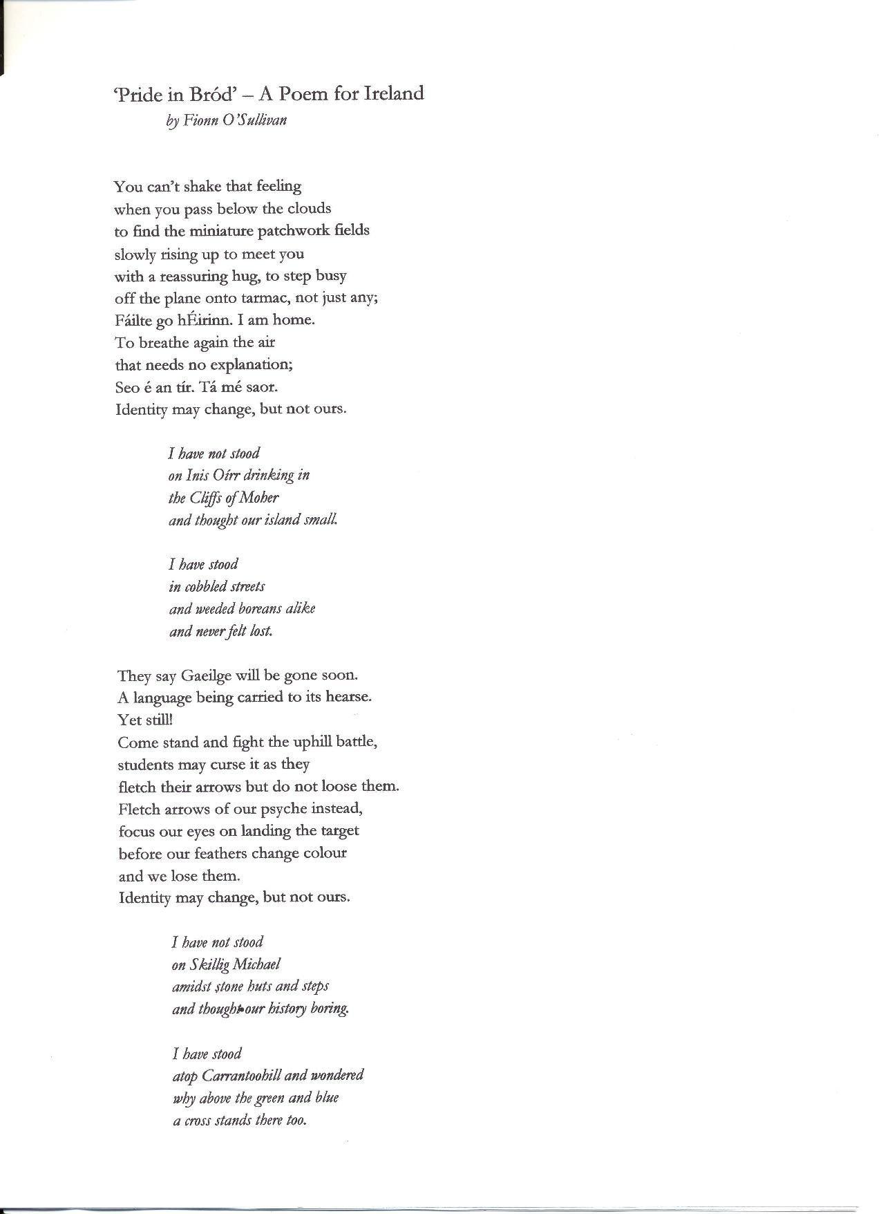 Poem For Ireland Competition Dlr County Winner